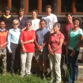 L'équipe du CREA Mont-Blanc accompagnée des volontaires 2017