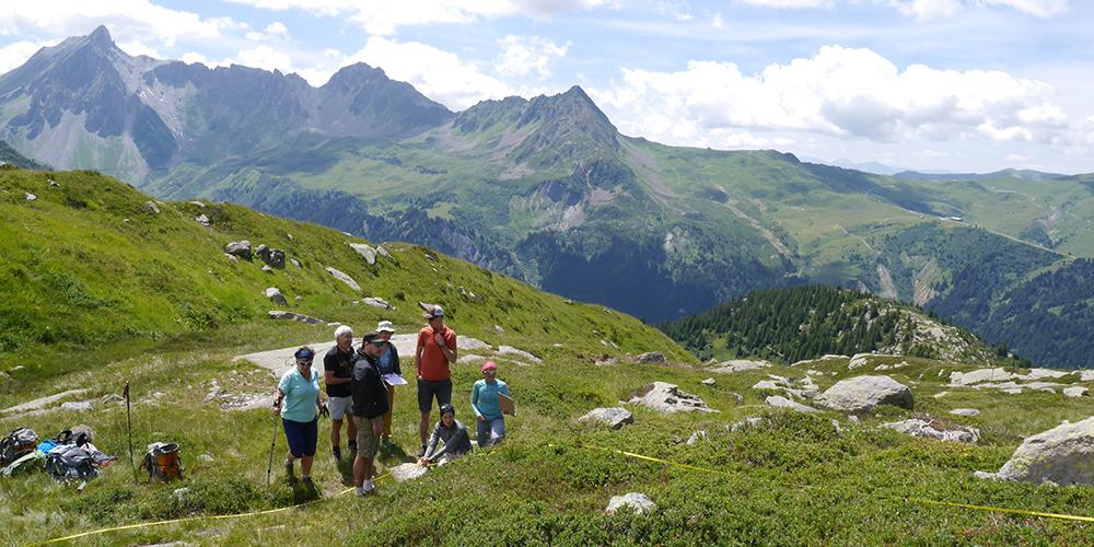 Collecte de données à Tré-La-Tête avec des volontaires CREA Mont-Blanc - été 2017 © CMader