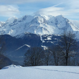Vue sur le Massif du Mont-Blanc depuis le refuge de Mayères, au dessus de Sallanches © GKlein