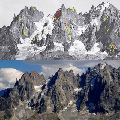 Étude des écroulements des aiguilles de Chamonix des dernières décennies © LRavanel, EDYTHEM