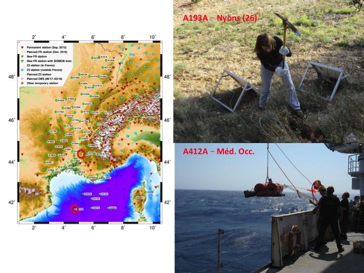 Installation de stations sismologiques à terre et sous-marine (depuis le navire océanographique Pourquoi-Pas?) © Anne Paul, ISTerre