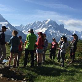 Premier jour de collecte de données à Loriaz pour les étudiants de l'Université du Wyoming © CREA Mont-Blanc