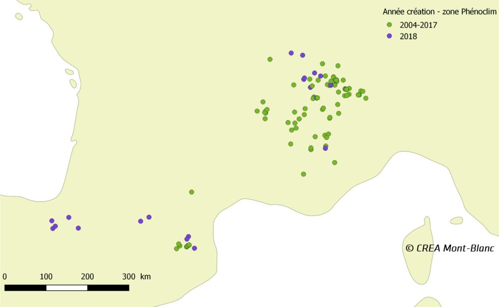 Répartition des sites d'observation du printemps 2018. Les sites crées en 2018 sont représentés en violet © CREA Mont-Blanc
