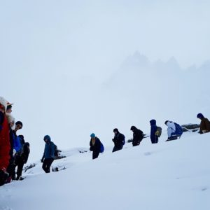 Brack fearlessly leads his students through the snow.  Photo: Brad Carlson