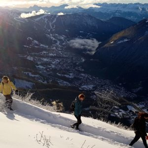 Students making their way to the hut high above Chamonix.  Photo: Brad Carlson