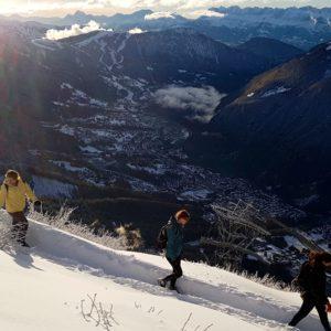 Students making their way to the hut high above Chamonix.  Photo: Brad Carlson