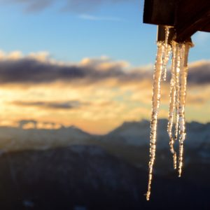 Icicles at the Refuge du Plan de l'Aiguille. Photo: Cat Payne