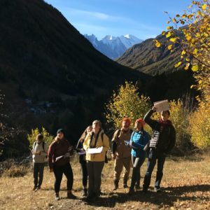 Observing color change in larch trees in Vallorcine. Photo: Hillary Gerardi